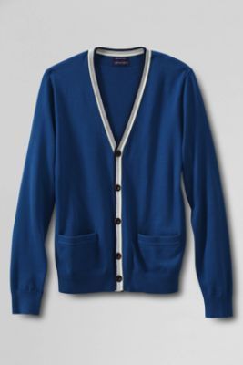 Men's Classic Fit Tipped Cotton Cardigan Sweater from Lands' End ...