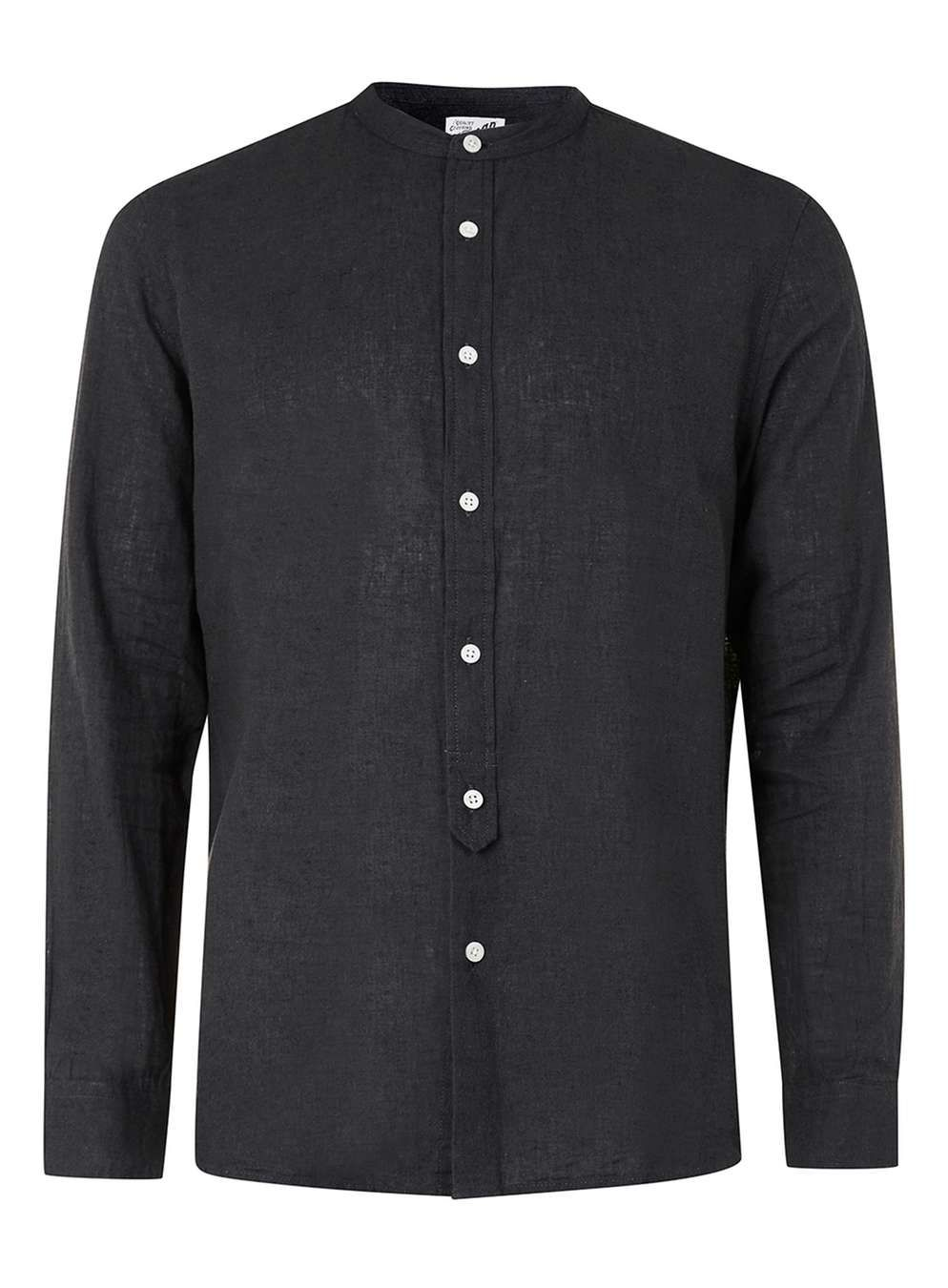 Ltd Black Linen Rich Stand Collar Shirt Collared Shirts Clothing
