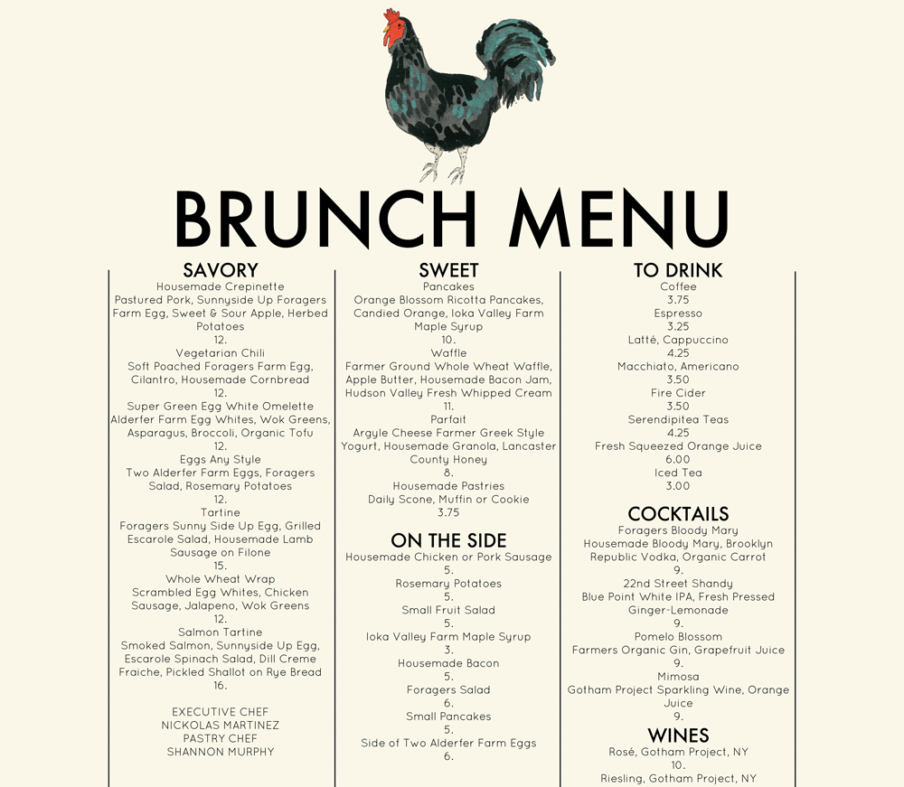 Foragers city table brunch menu organic food chelsea for Kitchen table cafe menu