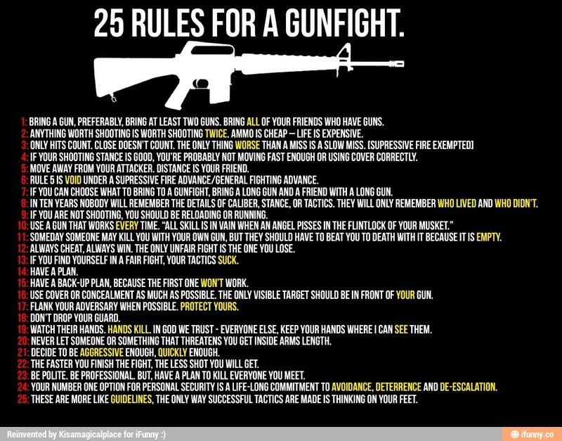 rules of gunfight Google Search Gunfight, Self defense