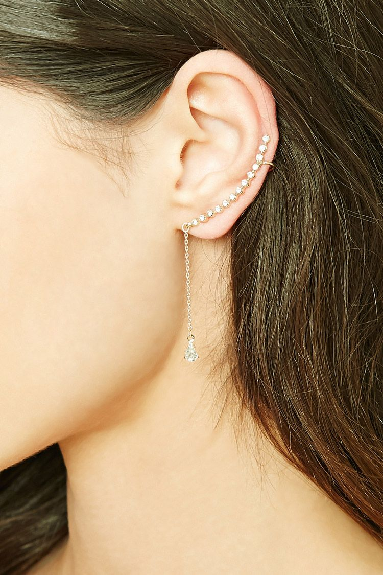 Rhinestone Drop Chain Ear Cuff