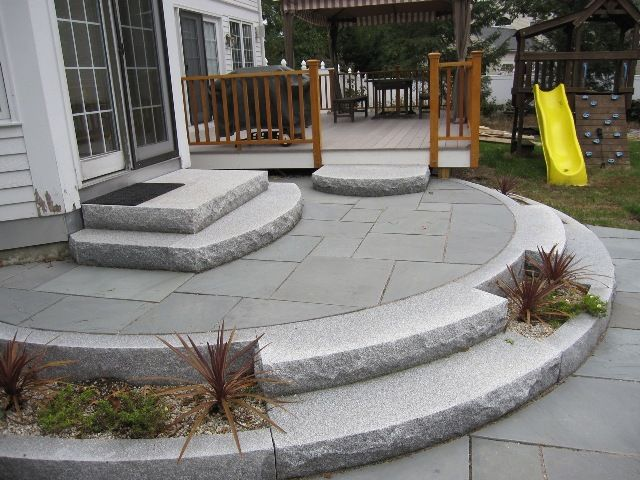 Mahogany Guardrails, Granite Posts, Granite Steps, And