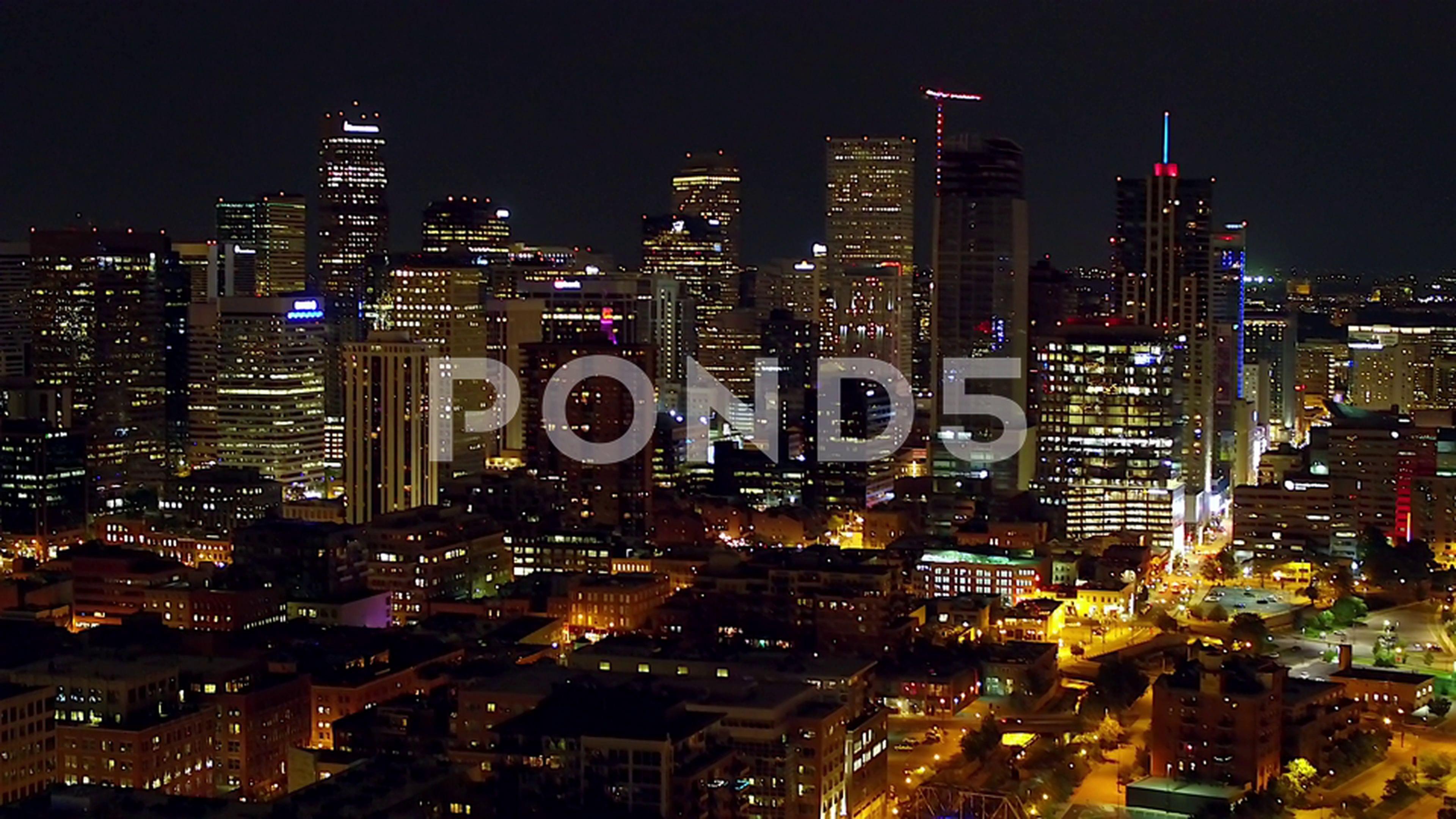 Aerial drone denver skyline at night stock footagedenver