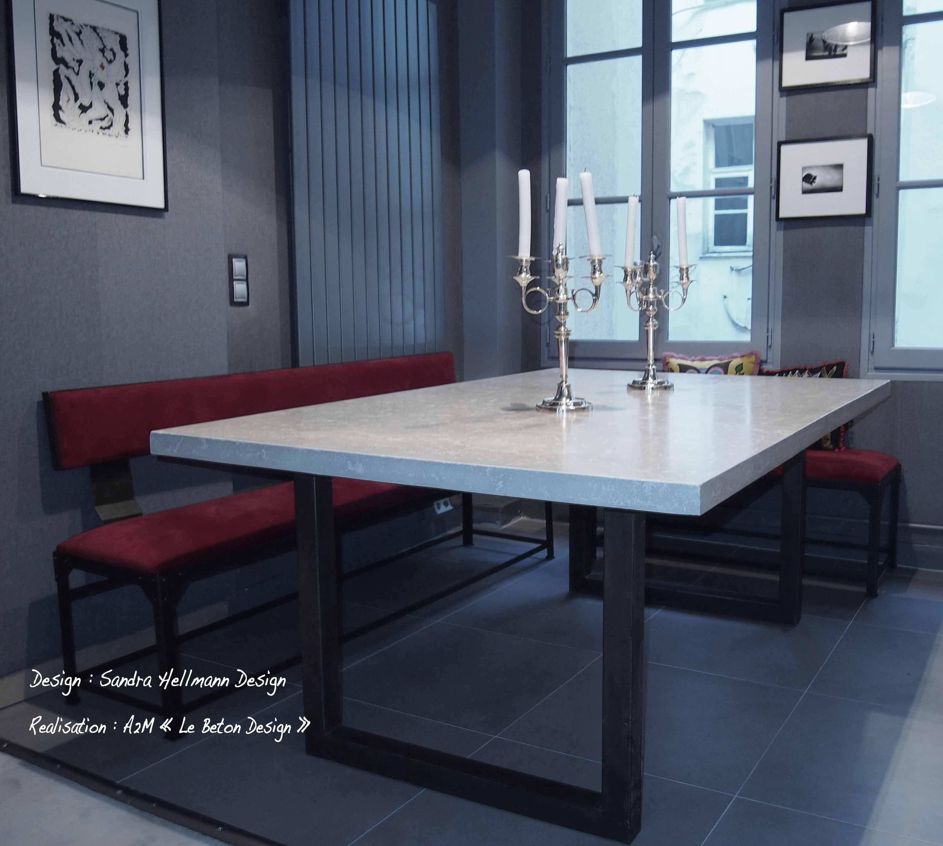 Table sur mesure Beton/acier pour Le Beton Design, dessiné par ...