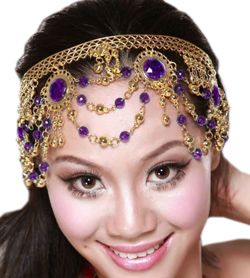 Arabesque Metal Head Piece with Coins & Jewels