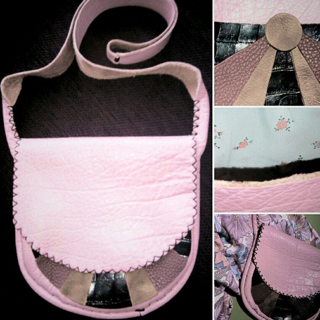 Pink leather bag. Diy.
