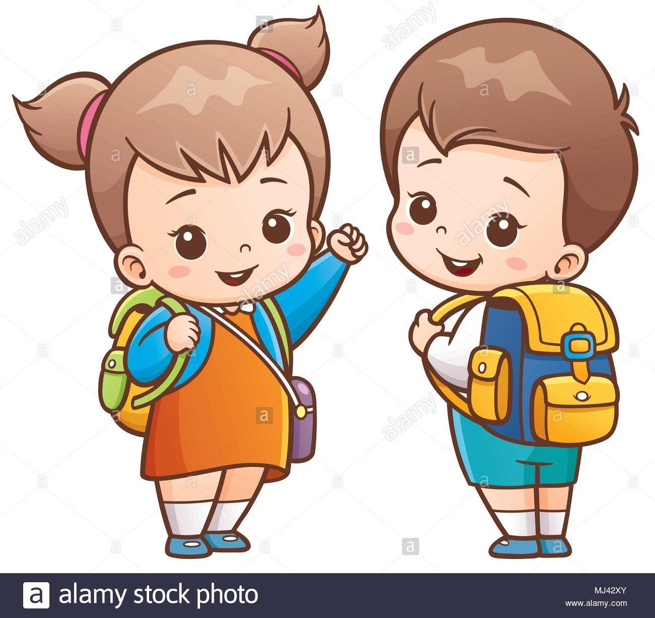 Descargar Este Vector Ilustracion Vectorial De Dibujos Animados Los Ninos Van A La Escuela Mj42x Ninos Y Ninas Animados Ninos En La Escuela Ninos Estudiando