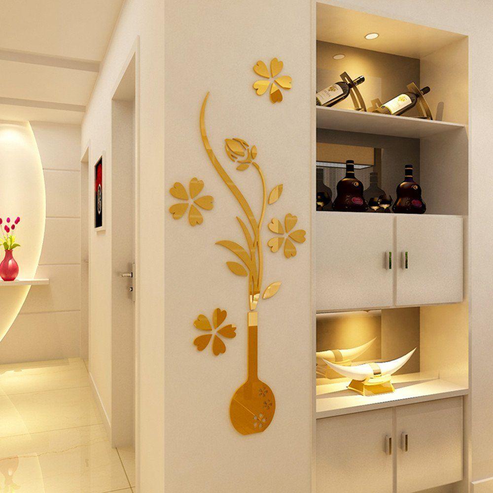 HEYING Mirror Flower Vase 3D Crystal Acrylic DIY Wall Stickersand ...