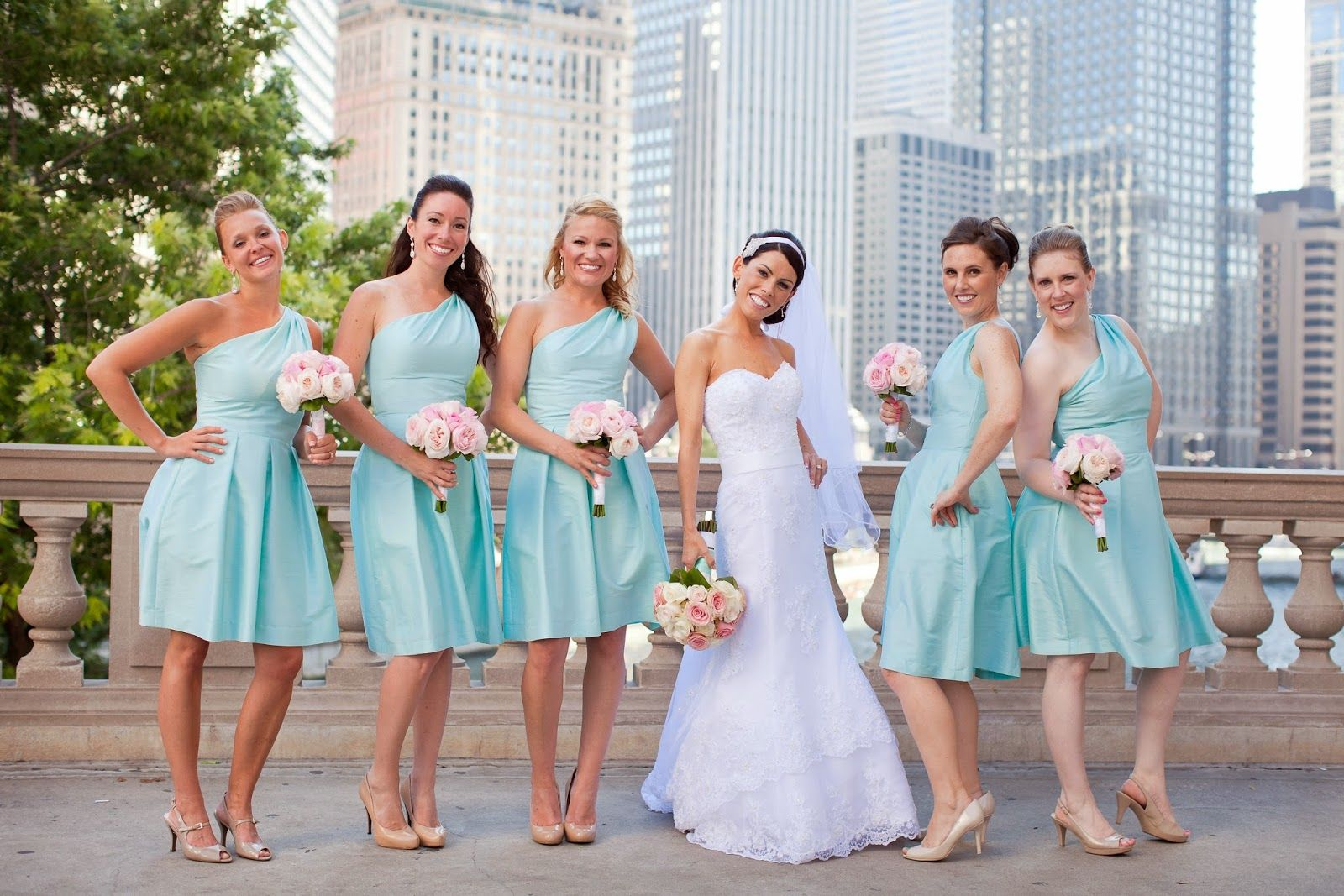 Real Weddings By Color: The Bridesmaids Were Dressed In Alfred Sung Style D458 In