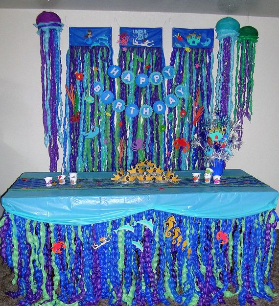 Mermaid Party Set, Ruffled Party Backdrop, Tableskirt