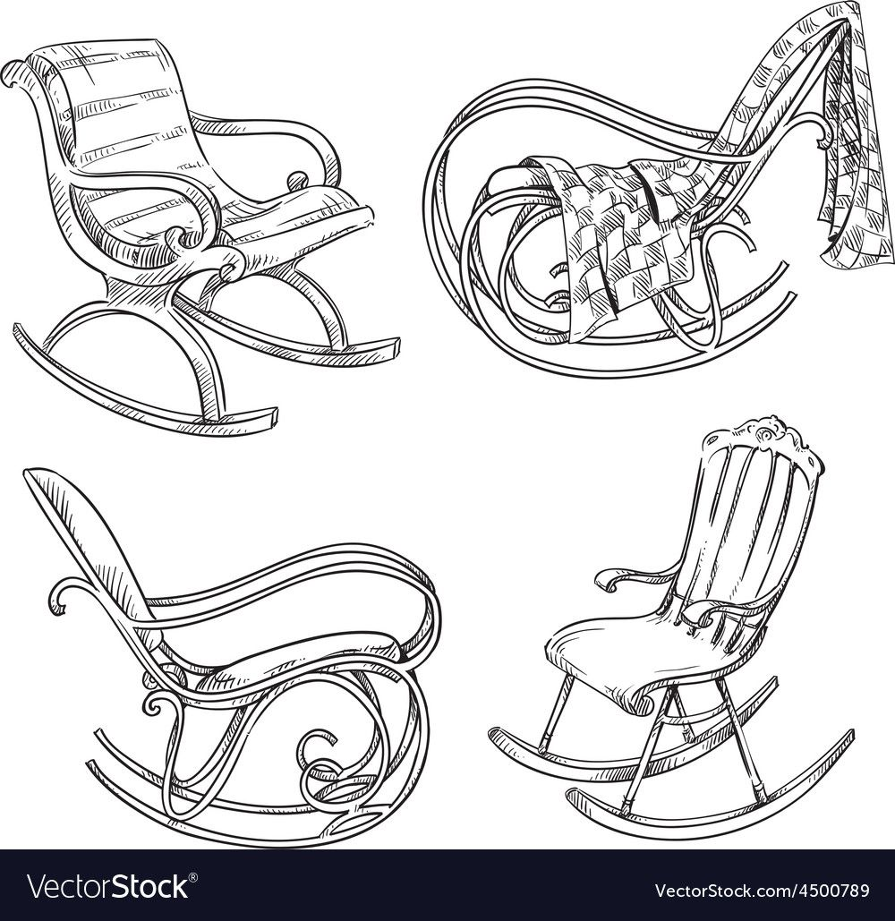 Rocking Chairs Vector Image On Vectorstock In 2020 Chair Drawing Rocking Chair Small Rocking Chairs