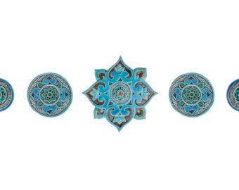 Decorative Tiles For Wall Art Suzani Wall Art Made From Ceramic Set Of 10 Differentgvega