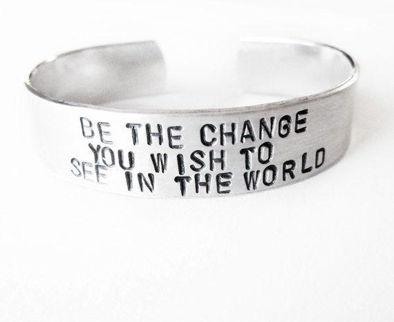 Inspirational Jewelry Bracelet with hand by WyomingCreative. , via Etsy.