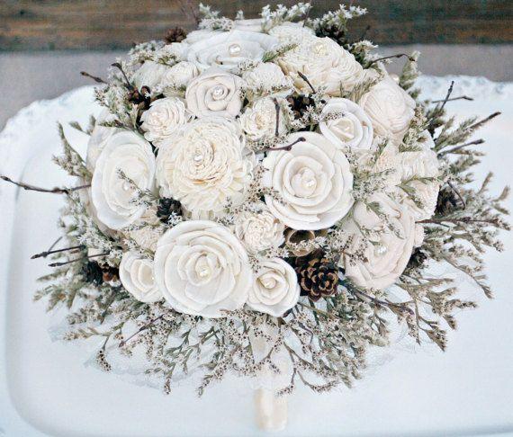 Winter wedding bouquet rustic sola flower bouquet cream ivory winter wedding bouquet rustic sola flower by thesunnybeebride mightylinksfo