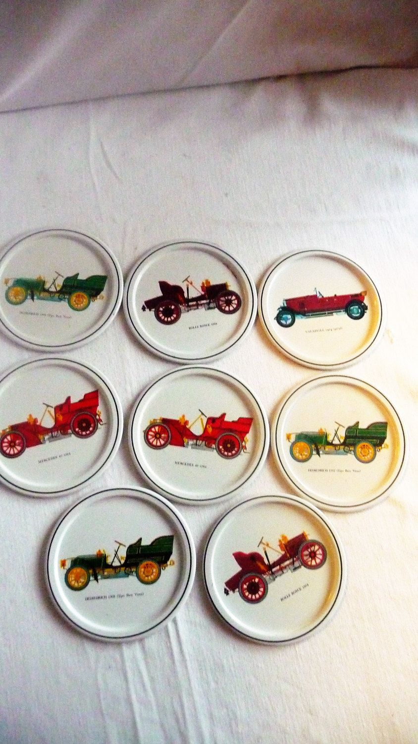 f562bebeec0b2 Set of 8 Vintage Old Cars Coasters, Antique Car Coasters, Small ...