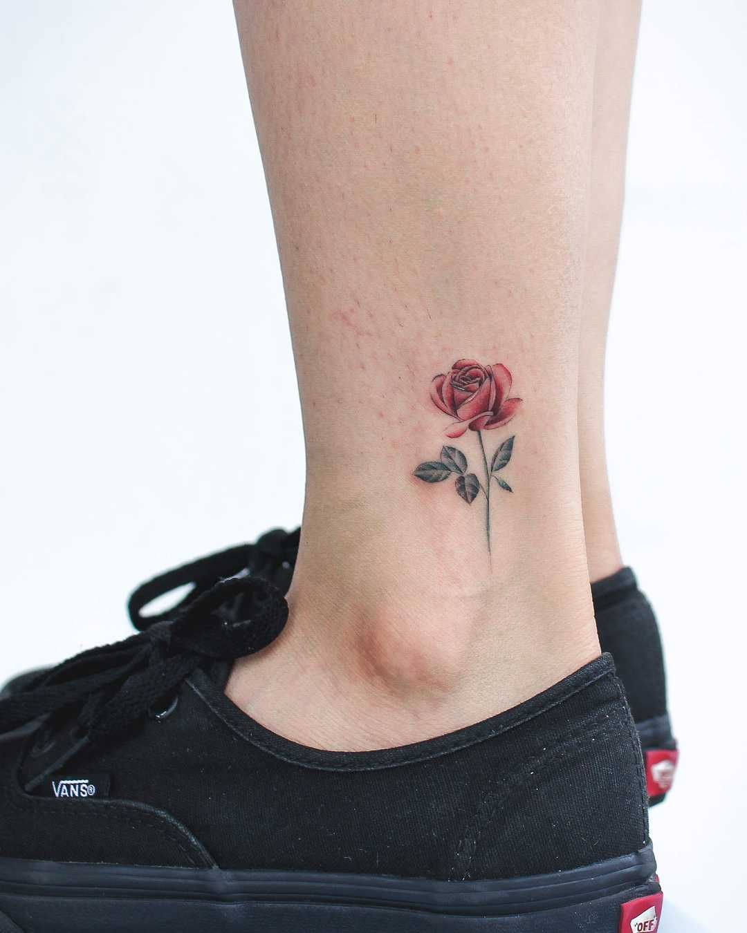 Little Red Rose Tattoo Inked On The Left Ankle Rose Tattoos For Women Rose Tattoo On Ankle Small Rose Tattoo