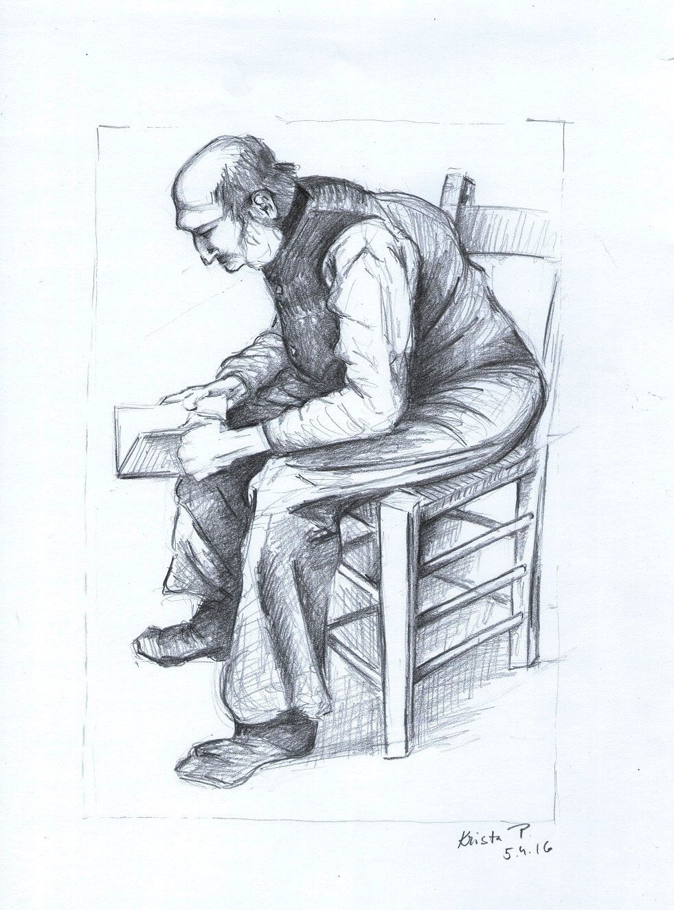 Seated figure, pencil, study, artist Krisýna Pavluvčíková.