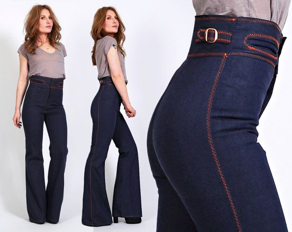 vintage 70s BELLBOTTOM Jeans XS highest waist high waisted bell ...