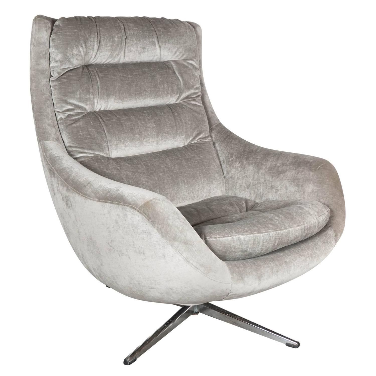 Mid Century Modernist Curved High Back Swivel Chair In Platinum Velvet Curved Chair Swivel Chair Chair