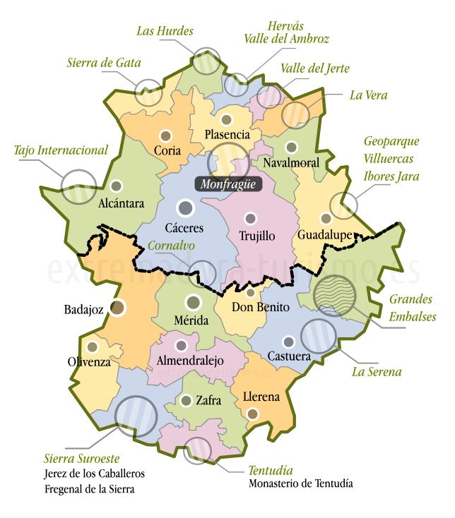 Mapa De Extremadura Comarcas.Mapa De Extremadura Extremadura Badajoz Y Espana