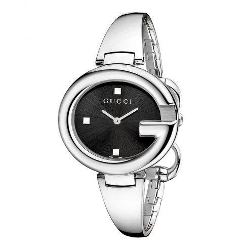 97b64bcc7f0 Gucci Guccissima 36mm Steel Black Dial Ladies Bangle Watch