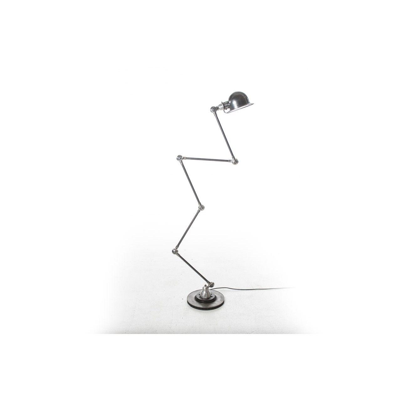 Lampada da terra snodabile designer Jean Louis Domecq produttore Jielde paese Francia anni 50 colore grigio in metallo