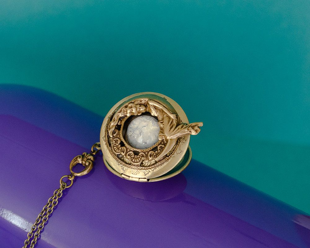 filled gold opal genuine crescent with pendant lockets pearls photo star moon victorian antique locket necklace