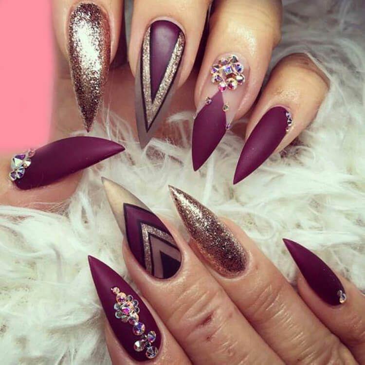 10 Fantastic Burgundy Stiletto Nails Designs For Ladies Showmybeauty Stiletto Nails Designs Gold Stiletto Nails Stilleto Nails Designs