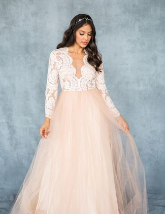 The Paloma gown is a long sleeve lace beauty in a perfect blush ...