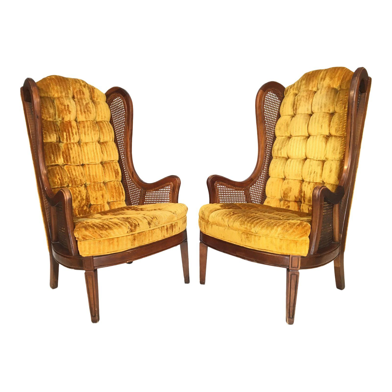 Tufted Velvet Cane Wingback Chairs by Lewittes Wingback