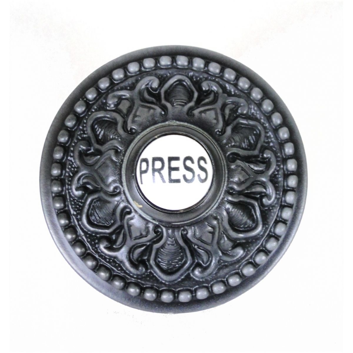 $38 Round PRESS Porcelain Door Bell Button Electric Victorian Solid Brass  Old Style Aged Dark Bronze
