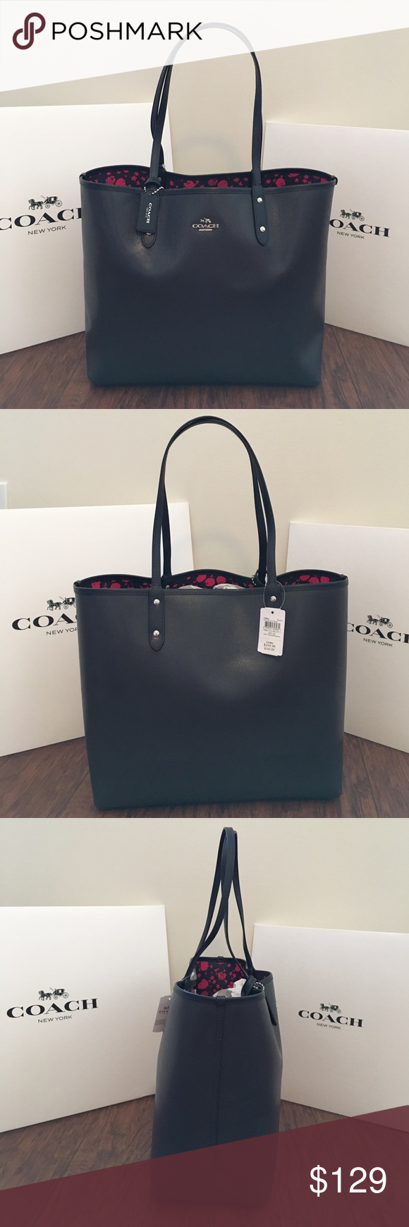 9cbad8b85 COACH Reversible City Tote Pink Ruby/Midnight Blue Guaranteed Authentic! Coach  reversible city tote