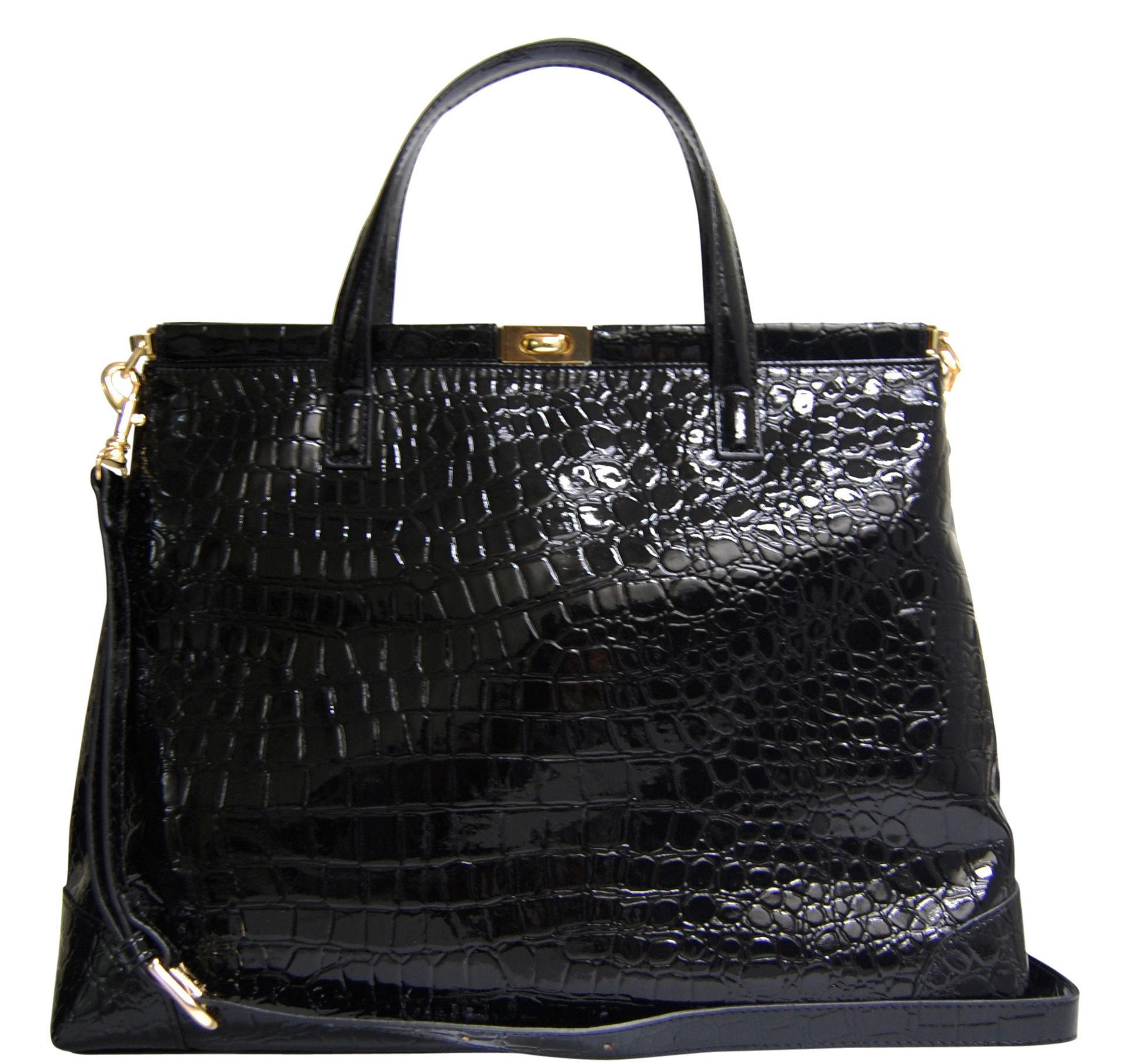 Black Croc Peek A Boo Bag