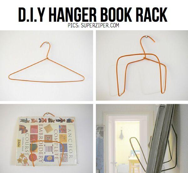 Diy Hanger Bookshelf Wire Hanger Crafts Hanger Crafts Diy