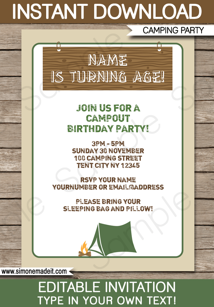 Camping Party Invitations Template Birthday Ideas Camping Party
