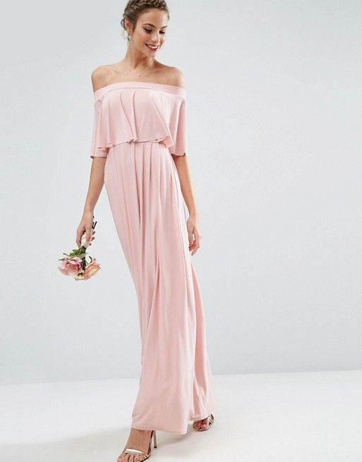 3e6b468d160 WEDDING Off Shoulder Frill Maxi Dress