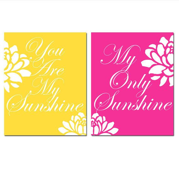You Are My Sunshine, My Only Sunshine - Set of Two 8x10 Floral Quote ...