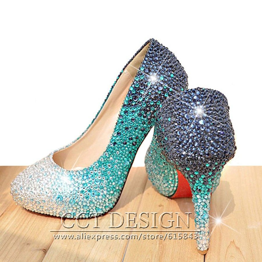 Pums shoes women sexy sky blue rhinestones wedding shoes cinderella