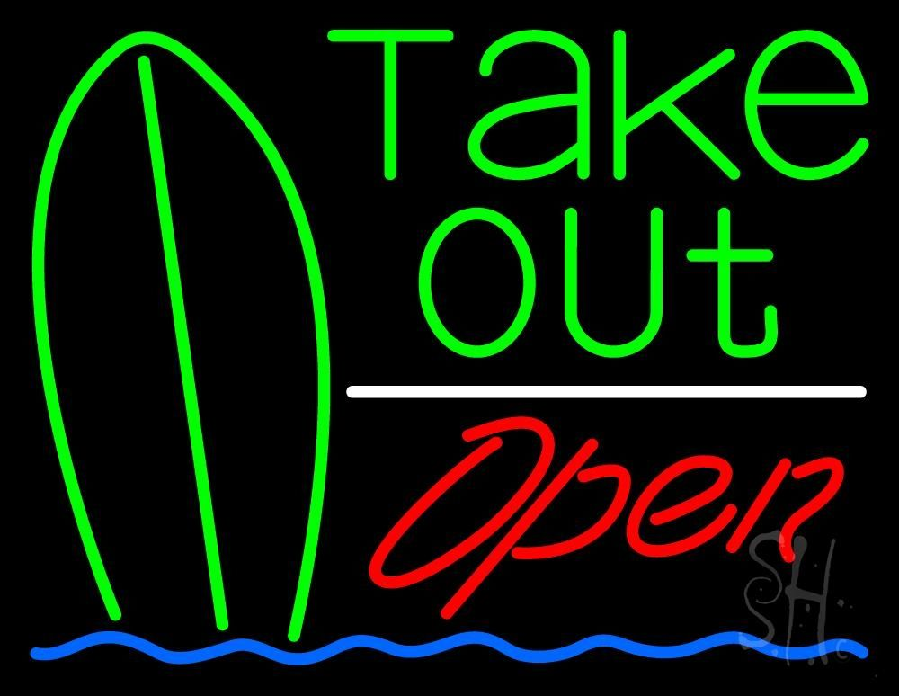 Green Take Out Bar Open Neon Sign (With images) Neon