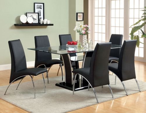 ce7e575506 7 PC Furniture of America Black Glenview I Collection Dining Room Table Set  CM8372BK-T
