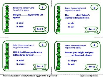 Help your students learn common homophones with these task cards! 32 cards for $2.75
