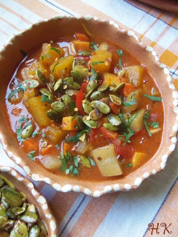 Chipotle Pumpkin, Sweet Potato and Chayote Stew HispanicKitchen.com