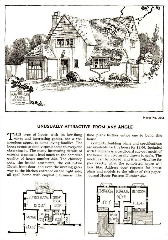 Design No 352 1935 Ladies Home Journal House Pattern Catalog House Plans Cottage Floor Plans Vintage House Plans