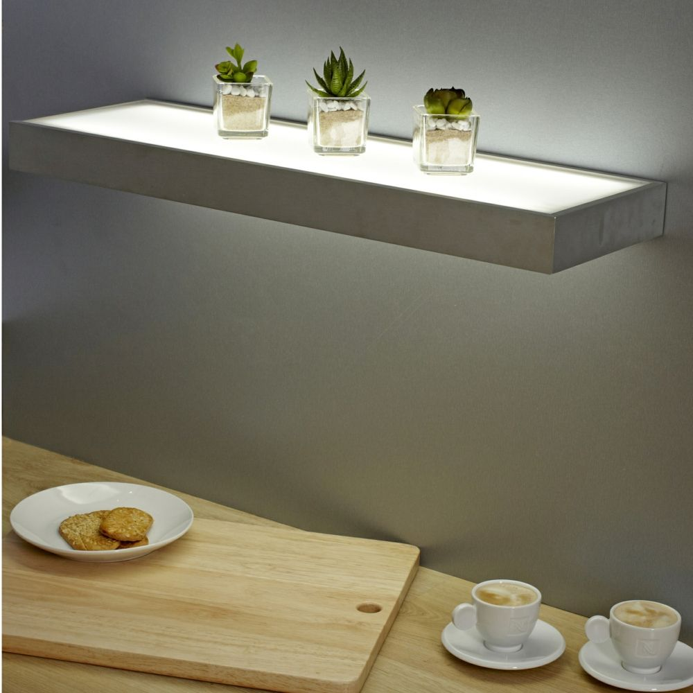 Sirius 600mm Floating Box LED Lighting Glass Shelves