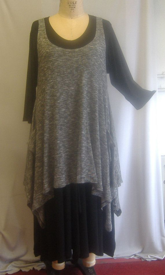 3bd38df134406 Coco and Juan Plus Size Top Lagenlook Layering Tunic Tank Jumper Top Black  and White Tweed Knit Size 1 Fits 1X