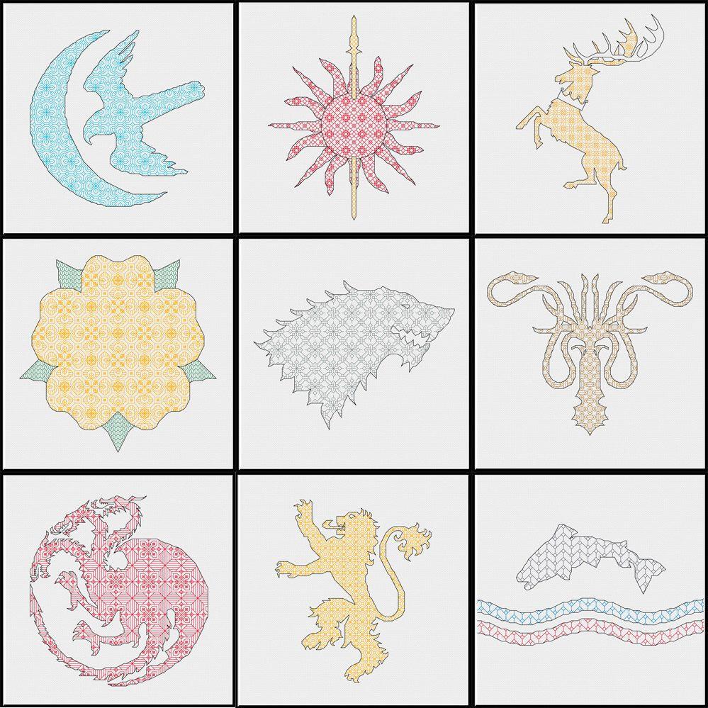 9 House Sigils - Game of Thrones - Crest - PDF Blackwork Cross ...