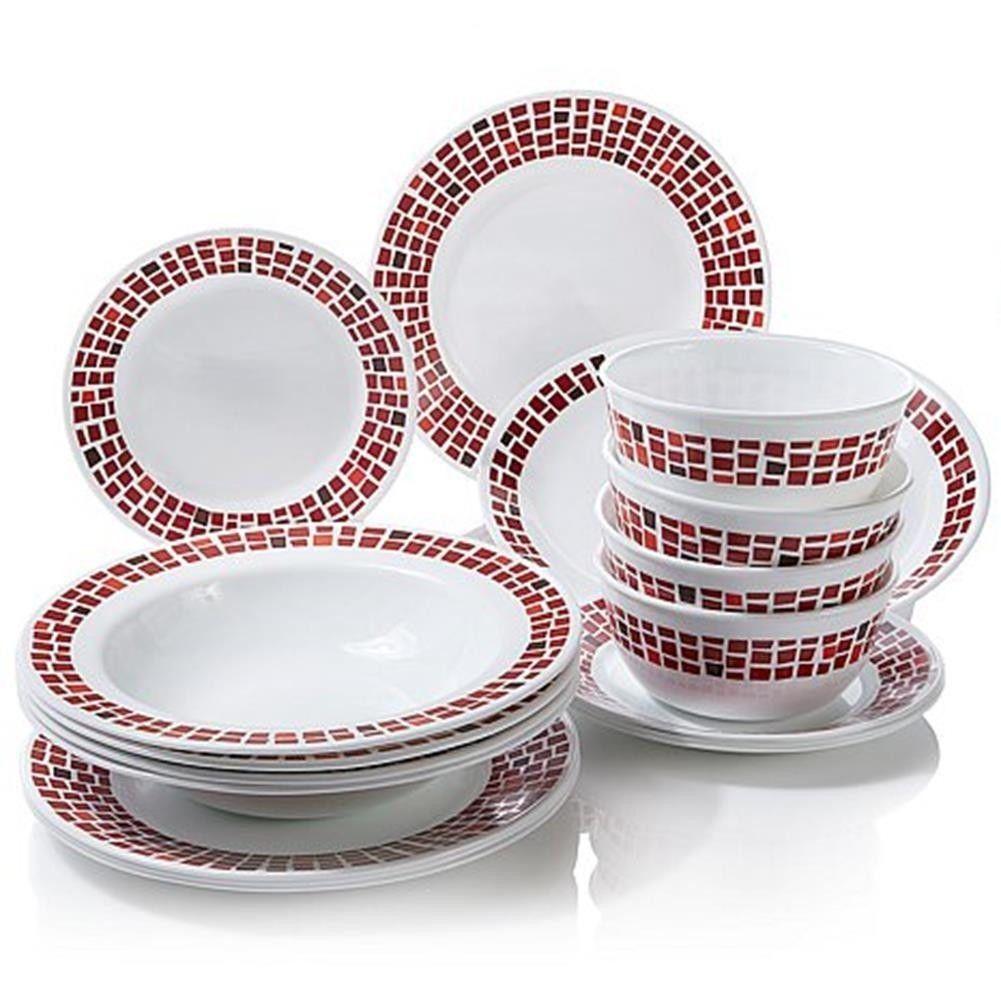 Joy Mangano Corelle 16 Piece Dinnerware Set Bonus Platter Ruby Red | eBay  sc 1 st  Pinterest & Joy Mangano Corelle 16 Piece Dinnerware Set Bonus Platter Ruby Red ...