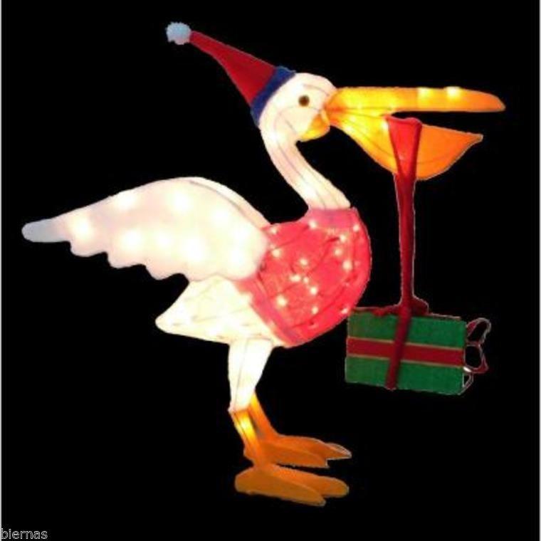 CHRISTMAS LIGHTED TINSEL PELICAN BIRD FABRIC YARD ...