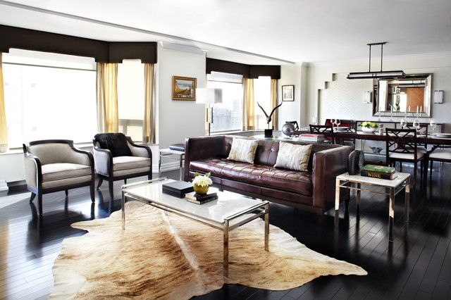 faux cowhide rug living room contemporary with animal skin apartment