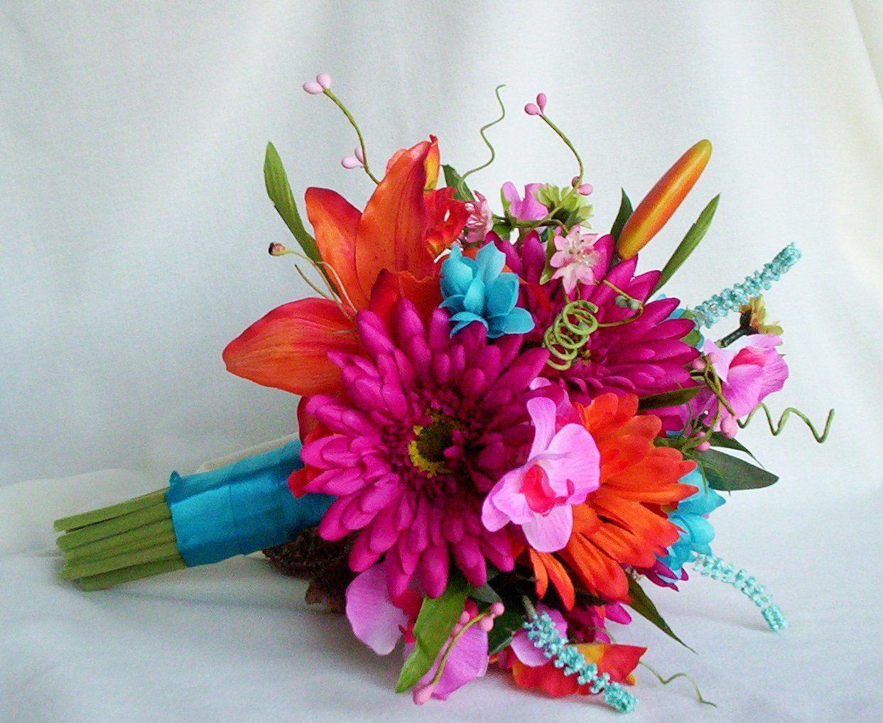 Beach Wedding Bouquet Malibu Blue Silk Wedding Flowers Tangerine